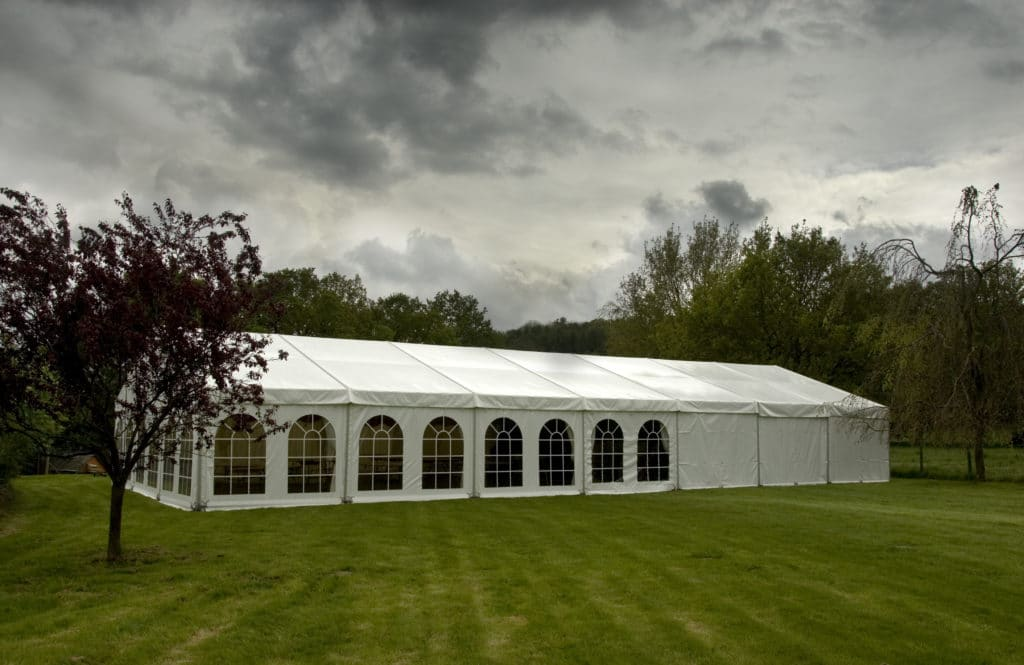 marquee with dramatic sky