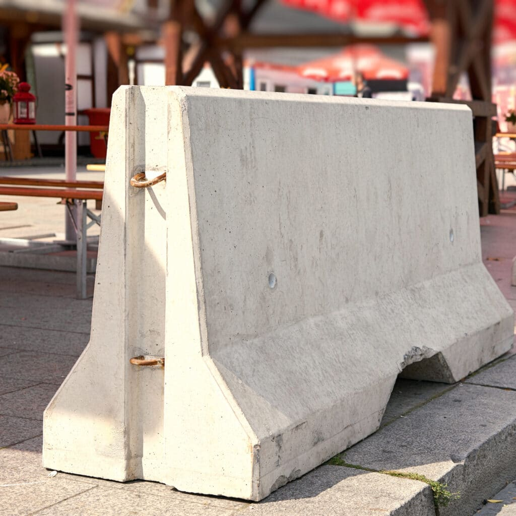 Barriers of Concrete for counterterrorism at Breitscheidplatz in Berlin