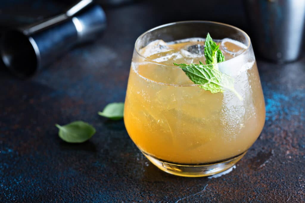 Refreshing apple cider cocktail, fall seasonal drink