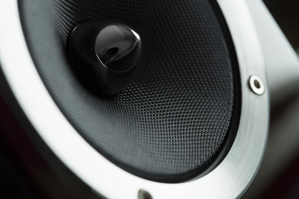 Macro shot of a carbon speaker